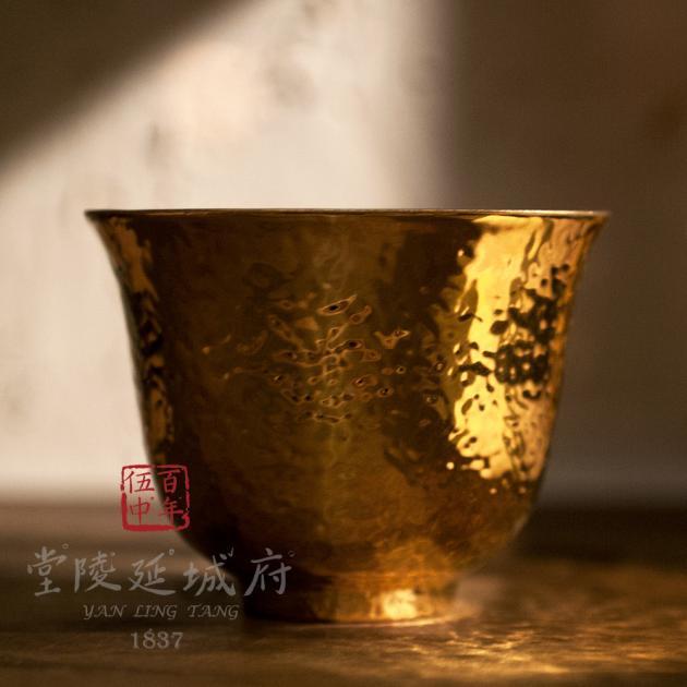 24K錘目紋金釉薄胎玉蘭杯 3