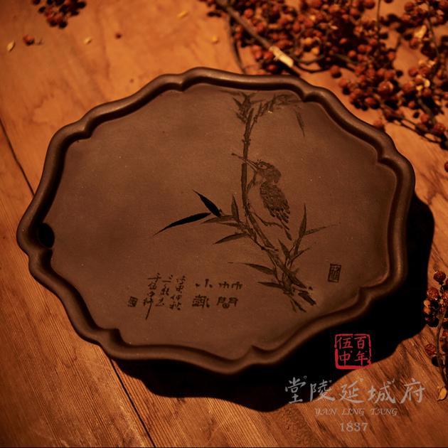手工海棠葵型原礦紫砂壺承 - 鳥款 2