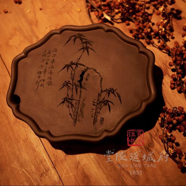手工海棠葵型原礦紫砂壺承 - 竹款 3