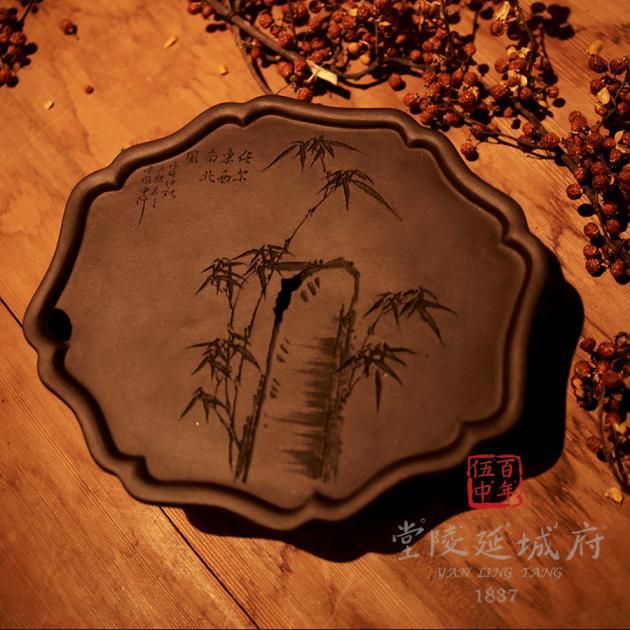 手工海棠葵型原礦紫砂壺承 - 竹款 2