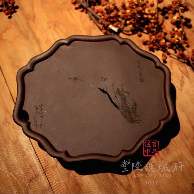 手工海棠葵型原礦紫砂壺承 - 花款 2